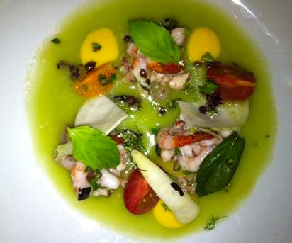 Ze Kitchen Galerie - entrée poulpe crevettes bonheur - pilierdebuffet